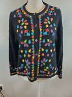 VTG 80's Vivian Wang Size Small Women's Sweater Beaded Lambswool Angora Cardigan