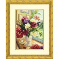 """Dimensions Counted Cross Stitch Kit 70-35328 Summer Bouquet New 10""""x14"""" Thread"""
