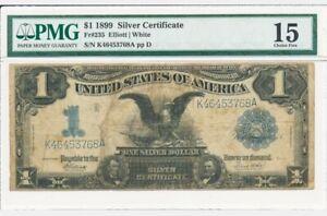 Superb Rare Vintage 1899 US Silver Certificate $1 Black Eagle in PMG 15