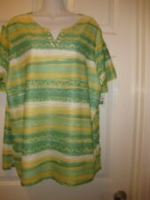Women's Alfred Dunner Size 1X Bahama Bay Green, Yellow and White Knit Top NWT