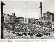 Siena: Piazza del Campo: Corsa del Palio. Stampa Antica + Passepartout. 1891