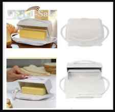 Butter Dish Flip-Top with Spreader in Blue Easy Clean Dishwasher White NEW