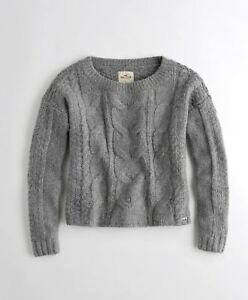 Hollister Womens Cable Crewneck Sweater, Heather Grey - BNWT!