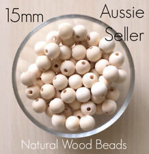 10x Natural Wood 15mm round beads unfinished raw baby teething nursing jewellery
