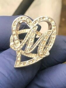 Large Initial M Ladies Heart Ring with CZ Stones Sterling Silver 925
