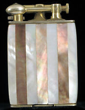 RARE CLARK LIGHTER FINE MOTHER OF PEARL ABALONE INLAY SUPER CLEAN 18K GOLD EP !