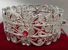 Ladies 14K 9K White Gold GF 65mm Red Ruby Filigree Soild Bangle Bracelet