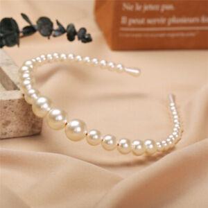 Women Wedding Charm Pearl Hair Hoop Band Elegant Headband Hairpin Top