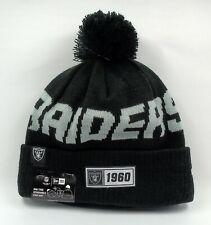 New Era Cap Men's NFL Oakland Raiders On Field Winter Knit Bobble Beanie Hat