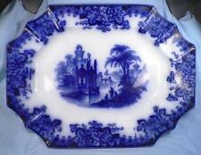 Coburg Flow Blue Platter Antique Magnificent John Edwards A Beauty Huge