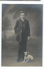 BM767 Carte Photo vintage card RPPC Animaux enfant kid chien dog