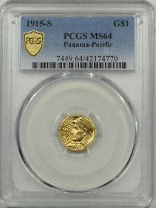1915-S PAN-PAC $1 GOLD, PCGS MS-64, LUSTROUS & LOOKS MS-65, PQ!