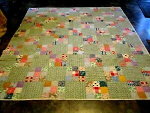 ANTIQUE VINTAGE  HAND PIECED STITCHED QUILT PATCH WORK BEAUTIFUL! GREENS