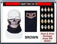 BROWN Skull Full Function Face Warmer Mask Neck Tube Scarf Biker Ski Snood