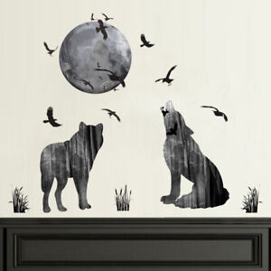 MOON WOLF PATTERN WALL STICKER SELF-ADHESIVE HOME LIVING ROOM ART DECAL NEW