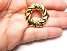 Round Twisted Open Work Gold Tone Metal Scarf Clip Vintage