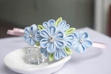 Handmade Japanese Girl Kid Kanzashi Hair Band Hoop Pastel Blue Sakura Pearls 1pc