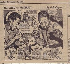 1953 newspaper panel - Johnny Bratton Vs. Kid Gavilan - Boxing match