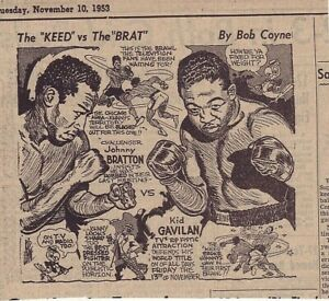 1953 newspaper panel - Johnny Bratton Vs. Kid Gavilan - Boxing match