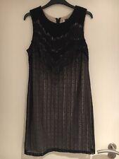 Topshop Boutique Black Lace Beaded Dress Size 12