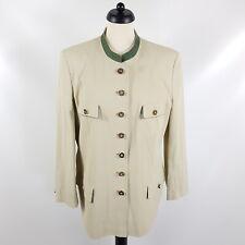 Gössl Janker Damen Gr. 44 Beige Grün Seidenfutter Trachtenjacke Jacke