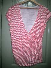 Target 16 Casual Soft Orange White Ruched Crossover V Neck Soft Cotton Top