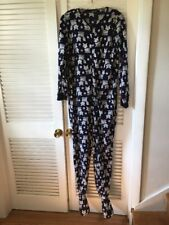 Rene Rofe One-Piece Footed Footie Pajamas Navy with Foxes Size Large women's