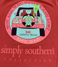 """SIMPLY SOUTHERN """"NOT ALL WHO WANDER ARE LOST"""" TSHIRT Small Red Brick Persimmon"""