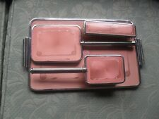 More details for vintage art deco pink faux guilloche 3 piece dressing table set on tray @