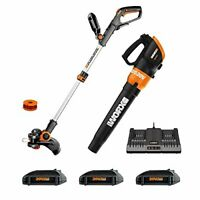 WORX WG921.1 20V Cordless 2-in-1 Trimmer with Edger and Blower - Orange/Black