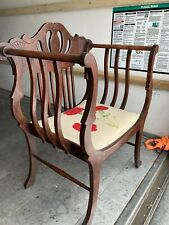 Vintage Italian Regency Saddle Seat Arm Chair Carnation Needlepoint Seat