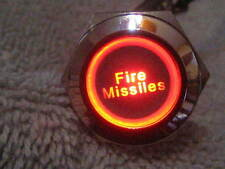 New 12V LED Fire Missiles ON / OFF Metal Switch 19mm Push Button Red Lighted
