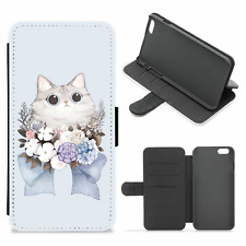 Cute Cat Floral Fluffy Kitty Wallet Phone Case (For iPhone, Samsung)