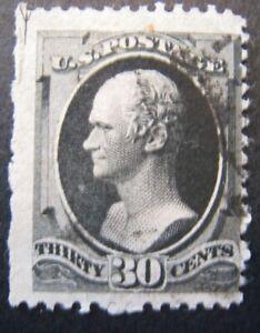 1873 US S#165 30c Hamilton, gray black Used Light Cancel Perf Issue VG+