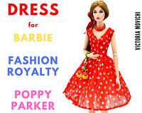 Red Chiffon Dress for Fashion Royalty, Barbie, Poppy Parker 12 inch dolls