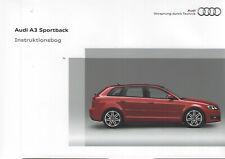 AUDI A3 Sportback Instruktionsbog 2009 2010 8PA Handbuch Handbog Dänisch BA