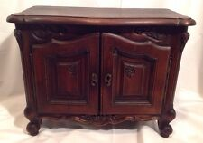Vintage French Carved Walnut Jewelry Armoire Chest 2 Door 3 Drawer Cabriole Legs