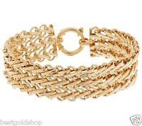 Polished and Diamond Cut Triple Row Bracelet Real 14K Yellow Gold 15.30gr