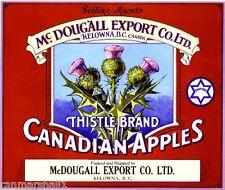 Kelowna Thistle Canada B.C. Canadian Apples Apple Fruit Crate Label Art Print