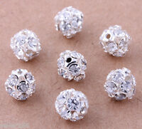 50 pcs 8mm Silver Plated Crystal Spacer Beads Charms Jewelry Making findings