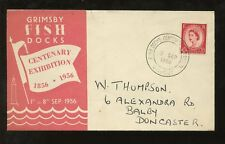 EXHIBITION FISHING 1956 POSTMARK GRIMSBY ILLUSTRATED COVER WILDING 2 1/2d