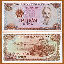 Vietnam, 200 Dong, 1987, P-100, UNC > Ho Chi Minh, Soviet Tractor