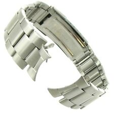 18mm Curved End Stainless Silver Tone Fold-Over Deployment Buckle Watch Band