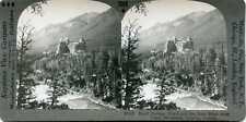 Kanada ~ Banff Federn Hotel & Schleife Fluss ~ Stereoskopie 37114 1096x Fast Neu