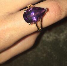 Size 8 Huge Amethyst 10K Gold Ring tear drop cut pear shaped