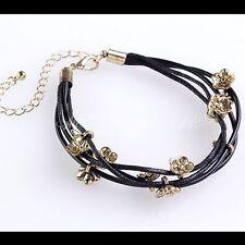 Bracelet Cuff Wristband Vogue Rock Gift Multi Layer Black Leather Metal Flower