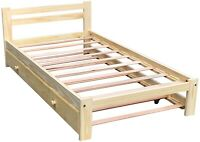 Twin Size Bed with Trundle Unfinished Solid Pine Wood Trundle Bed