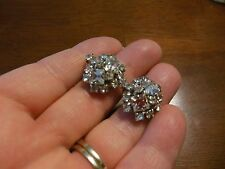 Vintage Silver Tone Clear Rhinestone Clip On Earrings
