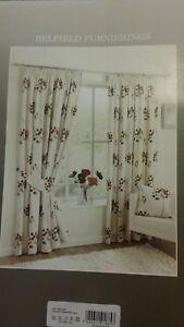 "Pencil Pleat Curtains Belfield Cream Floral 168x229cm / 66""x90"" Lined 3""Tape New"