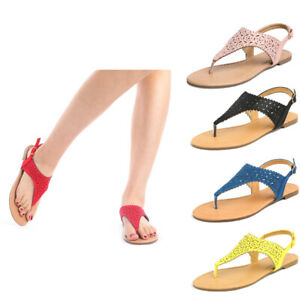 Womens T-Strap Thong Gladiator Strappy Summer Flat Flip Flop Sandals Shoes Size